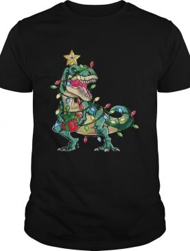 Dinosaur merry christmas tree shirt