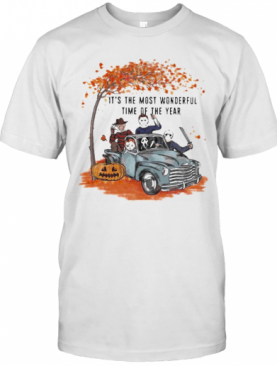 Halloween Horror Characters Riding Car It'S The Most Wonderful Time Of The Year Leaves Tree T-Shirt