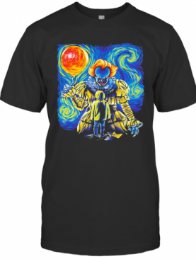 Halloween Pennywise Holding Balloon Starry Night T-Shirt