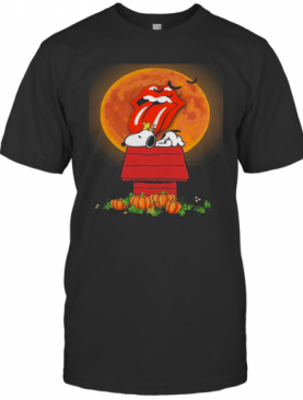 Halloween Snoopy And Woodstock Poster The Rolling Stones Pumpkin Moon T-Shirt