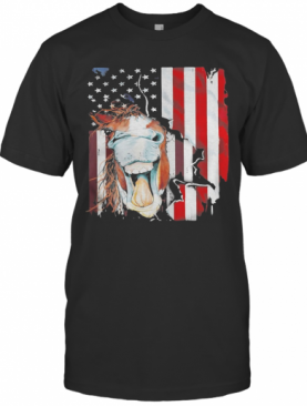 Horse American Flag Veteran Independence Day T-Shirt