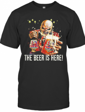 Iron Maiden Band Skeleton The Beer Is Here T-Shirt