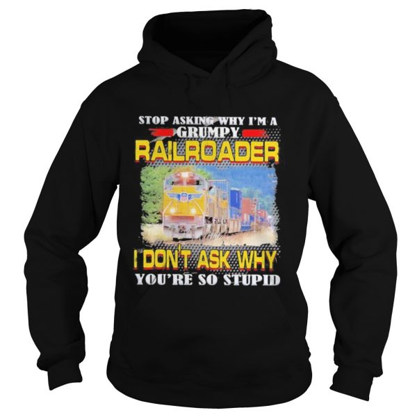 top asking why im a grumpy railroader i dont ask why youre so stupid  Hoodie