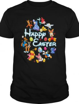 Disney cartoon characters happy easter flowers shirt
