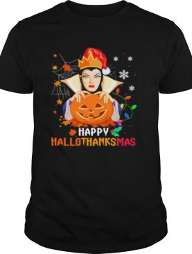 Evil queen happy hallothanksmas halloween thanksgiving christmas shirt