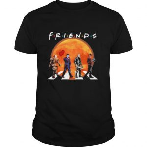 Halloween horror characters crossing the line friends moon shirt