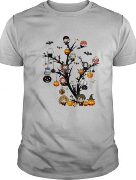 Happy halloween tree harry potter characters chibi witch shirt