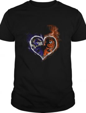 Heart Baltimore Ravens and Baltimore Orioles shirt