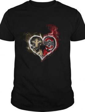 Heart New Orleans Saints and Ohio State Buckeyes shirt