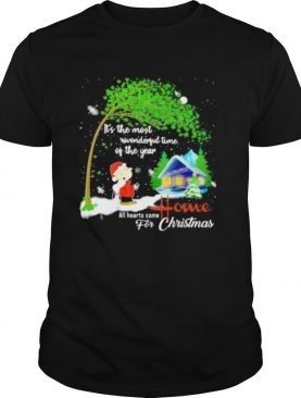 Charlie brown and snoopy it's the most wonderful time of the year all hearts come home for christmas shirt