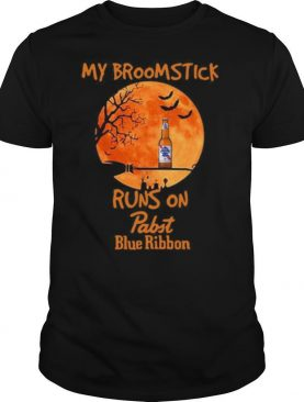 My Broomstick Runs On Pabst Blue Ribbon Moon Halloween shirt