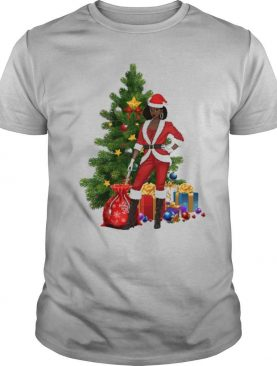 Black Women Santa Claus Style Christmas shirt