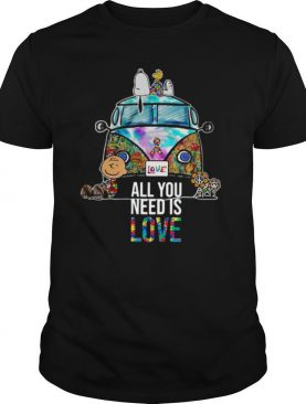 Hippie Bus Snoopy Charlie Brown All You Need Is Love Autism shirt