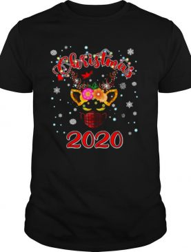 Lockdown christmas 2020 unicorn reindeer red plaid face mask shirt