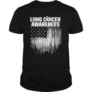 Lung Cancer Awareness Survivor Therapists Carcinoma Warrior American Flag shirt