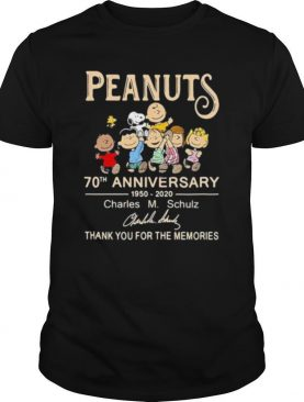 Peanuts 70th Anniversary 1950 2020 Charles Schulz Thank You For The Memories Signuature shirt