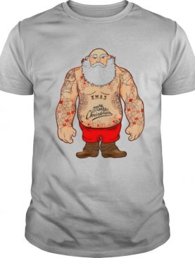 Shirtless Santa Covered In Tattoos For Christmas Mens shirt