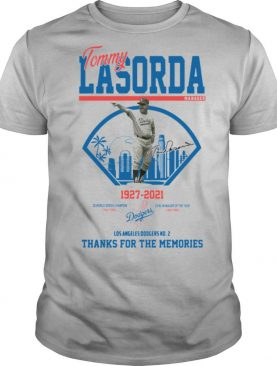 Los Angeles Dodgers Tommy Lasorda manager 1927 2021 thank you for the memories signature shirt