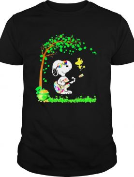 Patricks Day With Snoopy Playing Guitar And Woodstock In Patrick Tree shirt