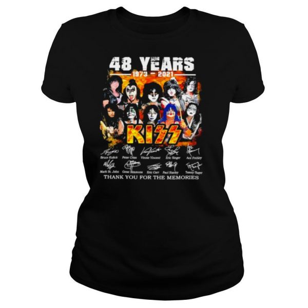 48 Years 1973 2021 Kiss Thank You For The Memories Signatures Shirt