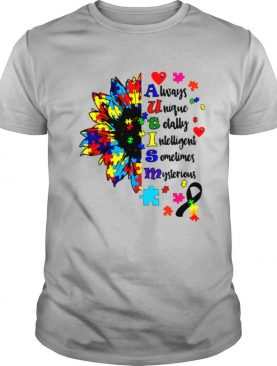 Autism Awareness Typography Sunflower Blue Puzzle Month shirt