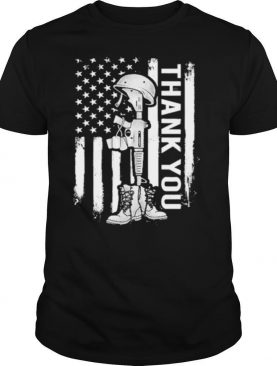 Distressed Memorial Day Flag Military Boots Dog Tags Shirt
