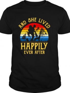 Girl And Dogs And She Lived Happily Ever After Vintage Retro T shirt