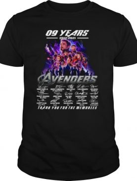 Marvel Avengers 09 Years 2012 2021 Signatures Thanks For The Memories shirt