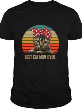 Retro Sunset With Best Cat Mom Ever shirt