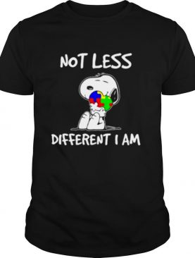 Snoopy Hug Heart Autism Not Less Different I Am shirt
