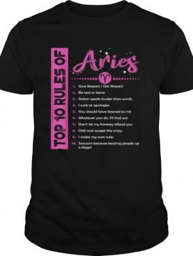 Top 10 Rules Of Aries Birthday shirt