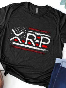 Crypto Currency XRP American Flag T Shirt