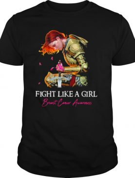 Fight like a girl breast cancer awareness woman shirt