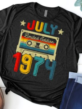 Vintage July 1974 Limited Edition Cassette Tape 47th Birthday Decoration T Shirt