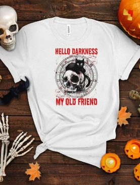 Skull and Black Cat hello darkness my old friend shirt